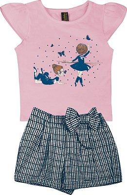 Conjunto de Blusa Estampa Bailarina e Short Laço Rosa