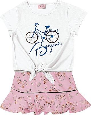 Conjunto Blusa Bicicleta e Saia em Cotton Estampada Branco