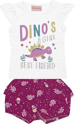 Conjunto de Blusa Dinossauro , e Short Estampa Rotativa Branco