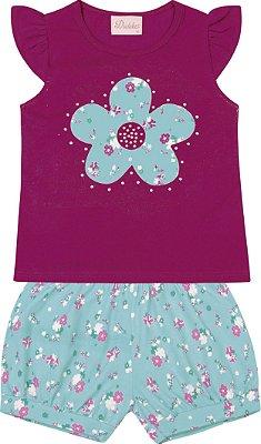 Conjunto Blusa com Detalhe em Flor  e Short Estampado Rosa