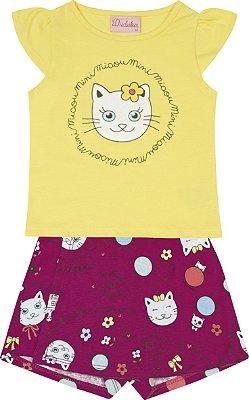Conjunto Blusa Cotton Gatinho e Short Saia em Cotton Estampado Amarelo