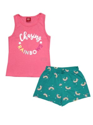 Conjunto Regata nadador e Shorts Estampa Rotativa Rosa