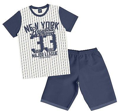 Conjunto de Camiseta New York e Bermuda Moletom soft sem Felpa Bege
