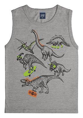 Machão com Estampa Dinossauros Cinza