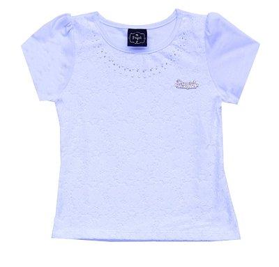 Blusa em Cotton Penteado Detalhe em Renda e Aplique Branco