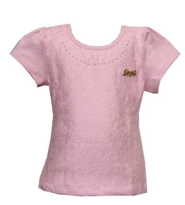 Blusa em Cotton Penteado Detalhe em Renda e Aplique Rosa