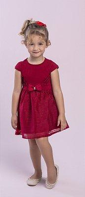 Vestido Devorê com Laço Vermelho