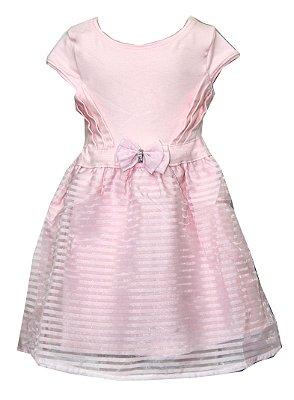 Vestido Devorê com Laço Rosa