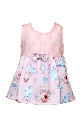 Body Vestido Cotton Penteado com Renda Rosa