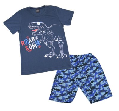 Conjunto com Camiseta Estampada Dinoussauro e Bermuda Microfibra Azul
