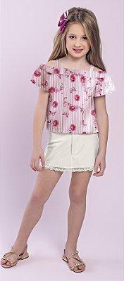 Blusa em Tecido Plano Estampa Flores Rosa
