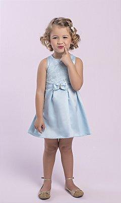Vestido em Tecido Acetinado Duplo com Detalhes em Renda e Laço Azul