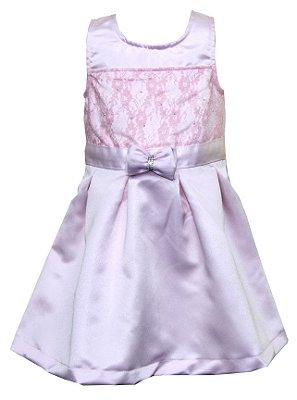 Vestido em Tecido Acetinado Duplo com Detalhes em Renda e Laço Rosa