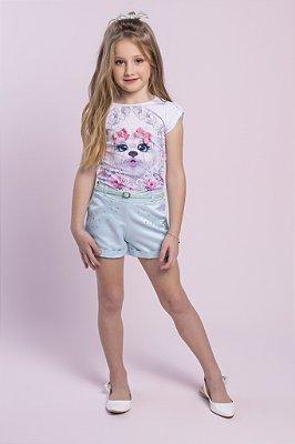Conjunto com Blusa Cachorro Shorts com Strass e Cinto Branco