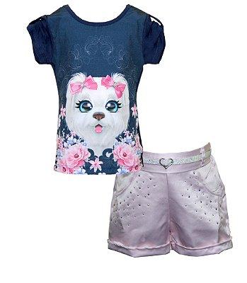 Conjunto com Blusa Cachorro Shorts com Strass e Cinto Azul