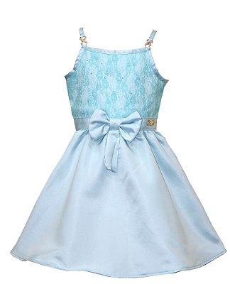 Vestido em Tecido Plano Acetinado com Laço Azul