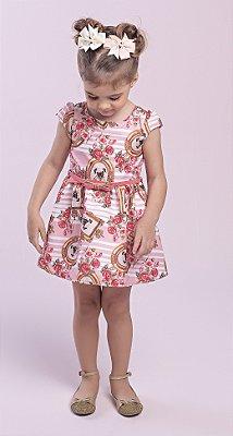 Vestido em Tecido Plano Acetinado Estampado com Decote Coração nas Costas Rosa