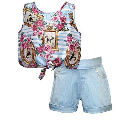 Conjunto com Blusa em Tecido Plano Estampado Pugs e Shorts em Crepe com Aplique Azul