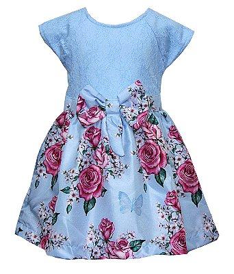 Vestido em Renda com Saia Estampada com Laço Azul