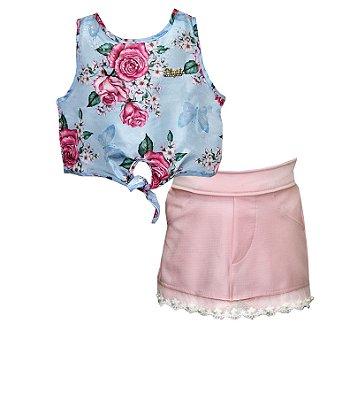 Conjunto com Regata com Amarração e Shorts Saia com Aplique Renda Azul