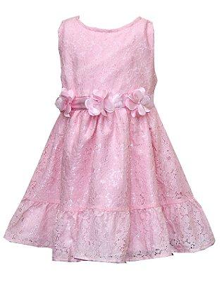 Vestido em Cetim com Renda e Flores Rosa