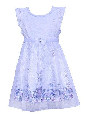 Vestido em Cotton com Renda , Cetim Estampado Bailarina e Detalhe em Laço com Strass Branco