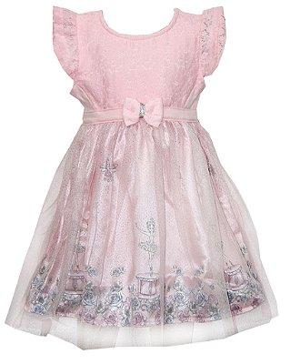 Vestido em Cotton com Renda , Cetim Estampado Bailarina e Detalhe em Laço com Strass Rosa
