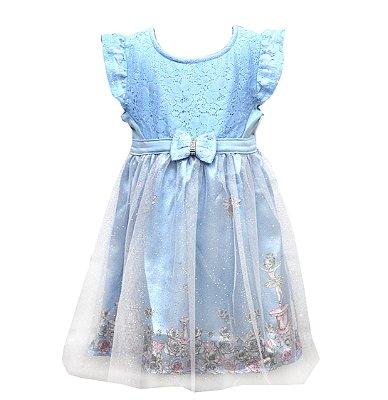 Vestido em Cotton com Renda , Cetim Estampado Bailarina e Detalhe em Laço com Strass Azul