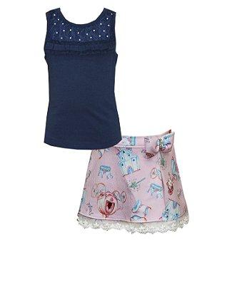 Conjunto com Blusa em Cotton com Renda e Shorts Saia em Crepe Estampado Azul