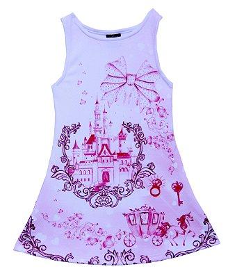 Vestido em Crepe Estampado Castelo Princesa Rosa