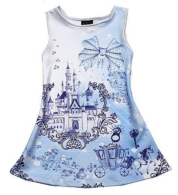 Vestido em Crepe Estampado Castelo Princesa Azul