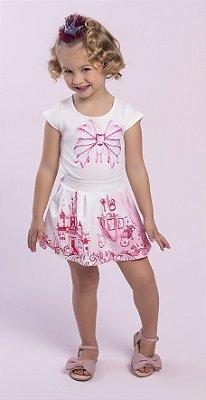 Conjunto com Blusa em Crepe com Estampa de Laço e saia em Crepe Estampado Princesa Rosa