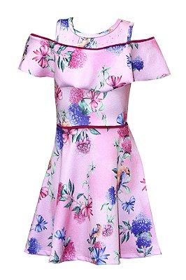 Vestido Crepe Jacquard  Flores Rosa