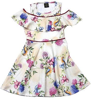 Vestido Crepe Jacquard  Flores Bege