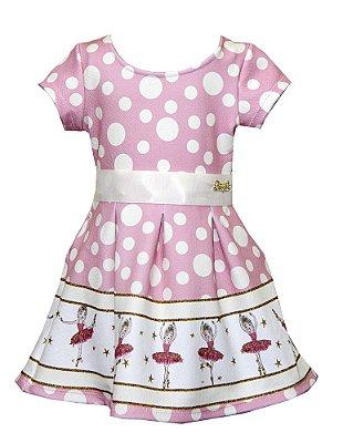 Vestido Bailarina com Laço Rosa