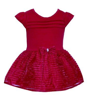 Body Vestido em Cotton com Detalhe em Laço na Cintura Vermelho