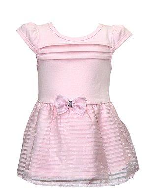 Body Vestido em Cotton com Detalhe em Laço na Cintura Rosa