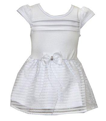 Body Vestido em Cotton com Detalhe em Laço na Cintura Branco
