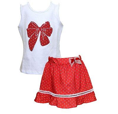 Conjunto com Regata em Cotton Laço e Saia Shorts Estampado Rosa