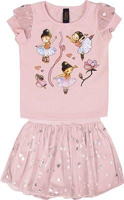 Conjunto com Blusa em Cotton com Estampa Bailarinas e Saia Shorts Rosa
