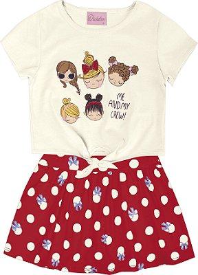 Conjunto com Blusa em Meia Malha Estampada Meninas e Saia Shorts Bege
