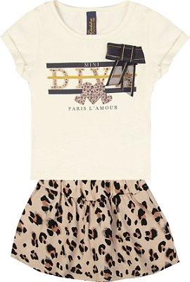 Conjunto com Blusa em Cotton com Estampa Diva com Detalhe em Laço e Saia Shorts Bege