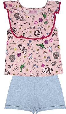 Conjunto com Blusa em Meia Malha Estampada e Shorts em Chambray Rosa
