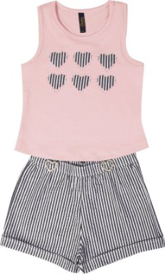 Conjunto com Regata em Cotton com Aplique e Shorts Anarruga Rosa