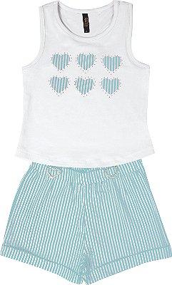 Conjunto com Regata em Cotton com Aplique e Shorts Anarruga Branco