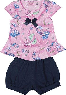 Conjunto com Bata em Malha Crepe Estampada com Detalhe em Laço e Shorts em Cotton Rosa