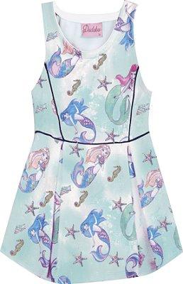 Vestido Estampado com Detalhes de Filetes Azul Piscina