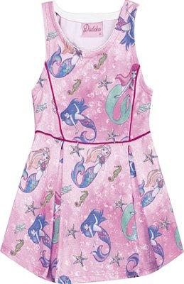 Vestido Estampado com Detalhes de Filetes Azul Rosa