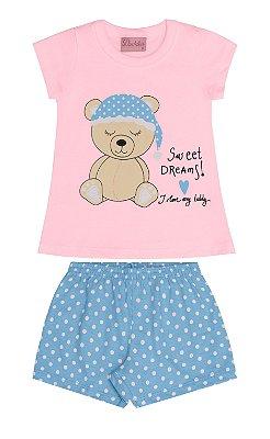 Conjunto Pijama Blusa e Shorts Ursinho Rosa