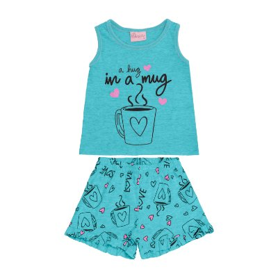 Conjunto Pijama Regata e Short Azul